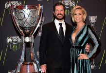 Martin Truex Jr. and his girlfriend, Sherry Pollex, shown here in 2017, have been named the winners of the fourth-quarter NMPA Spirit Award.