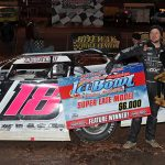 Michael Page in victory lane after winning Sunday's Ice Bowl at the Talladega Short Track. (Chad Wells Photo)