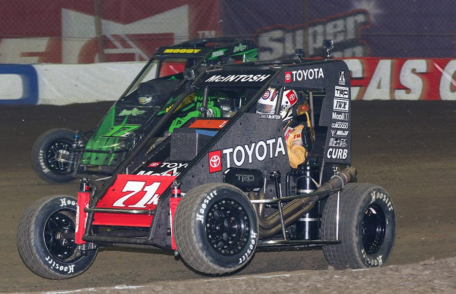 Cannon McIntosh (71) in action during Monday's Chili Bowl Cummins Qualifying Night feature in Tulsa, Okla. (Brendon Bauman photo)
