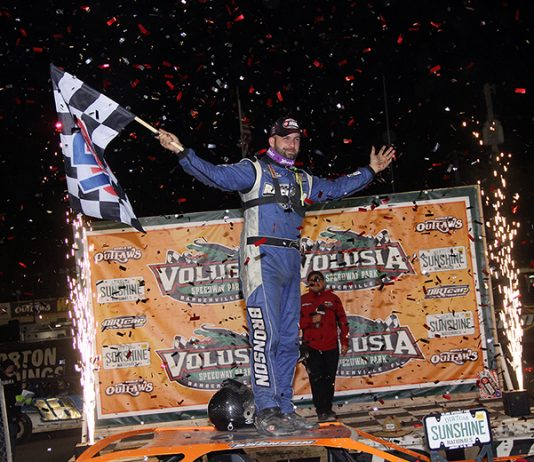 Kyle Bronson won Thursday's World of Outlaws Morton Buildings Late Model Series opener at Volusia Speedway Park. (Jim Denhamer Photo)