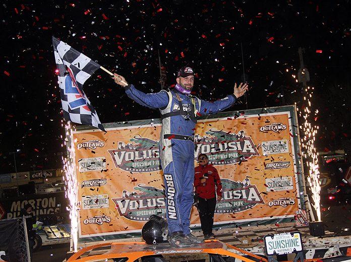 Kyle Bronson won Thursday's World of Outlaws Morton Buildings Late Model Series opener at Volusia Speedway Park. (Jim Denhamer Photo)
