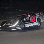 Michael Page on his way to victory Thursday at Volusia Speedway Park. (Jim Denhamer Photo)