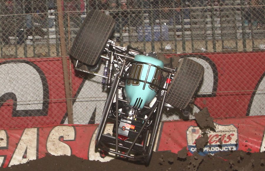 Tanner Thorson flies through the air after flipping during preliminary action Friday night at the Chili Bowl. (Richard Bales Photo)