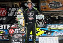 Kyle Strickler in victory lane at Volusia Speedway Park. (Jim DenHamer photo)