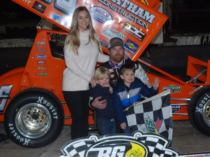 Troy DeCaire and his family in victory lane at 417 Speedway in Florida. (David Sink photo)