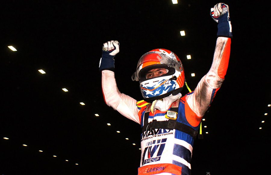 Kyle Larson celebrates his victory in the 35th Lucas Oil Chili Bowl Nationals. (Richard Bales Photo)