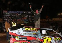Jake O'Neil celebrates his modified win Sunday at Arizona Speedway. (Mike Ruefer Photo)