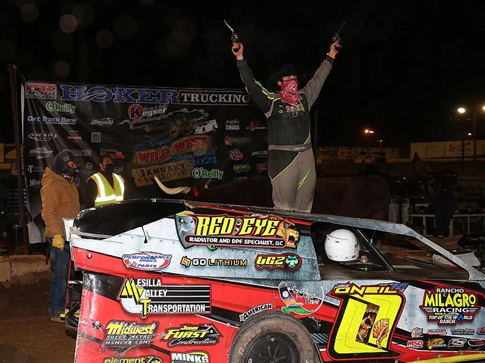 Jake O'Neil celebrates his modified win Sunday at Arizona Speedway. (Mike Ruefer Photo)
