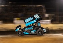 Buddy Kofoid en route to victory at Arizona Speedway. (Tyler Rinkin photo)
