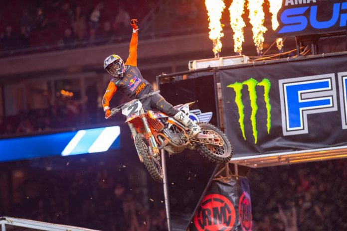 Cooper Webb won his 12th career Supercross event on Saturday night. (Feld photo)