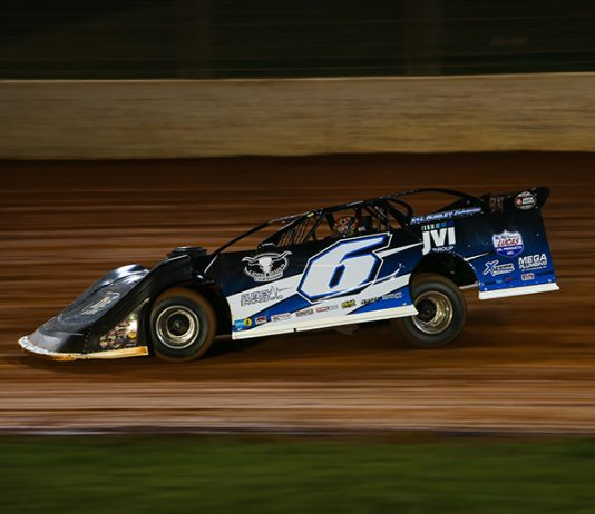 Kyle Larson, shown at The Dirt Track at Charlotte, won Saturday's Lucas Oil late model feature at Florida's All-Tech Raceway. (Adam Fenwick photo)