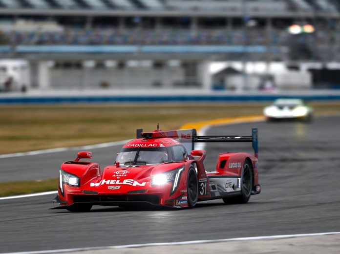 Felipe Nasr and Pipo Deran raced to victory on the Motul Pole Award 100 to earn the pole for the Rolex 24 next weekend at Daytona Int'l Speedway. (IMSA Photo)