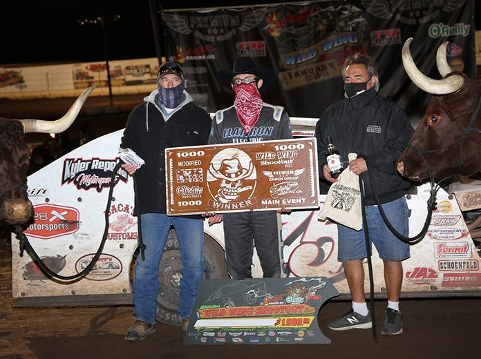 Chaz Baca Jr. in victory lane Sunday night at Arizona Speedway. (Terry Page Photo)