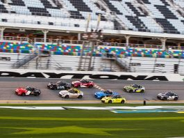 Gresham Wagner takes the checkered flag ahead of the pack to win Thursday's Mazda MX-5 Cup opener at Daytona Int'l Speedway.