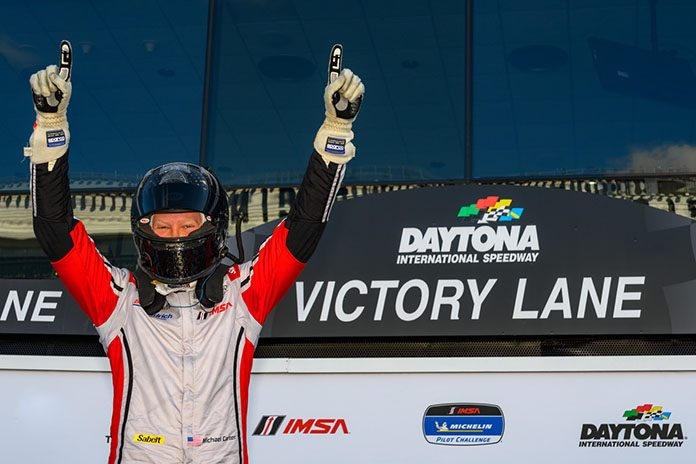 Michael Carter celebrates his Mazda MX-5 Cup victory Friday at Daytona Int'l Speedway.