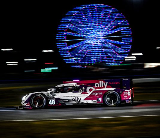 The No. 48 Action Express Racing Cadillac DPi shared by Jimmie Johnson, Kamui Kobayashi, Simon Pagenaud and Mike Rockenfeller was at the front of the field after eight hours in the Rolex 24. (IMSA Photo)