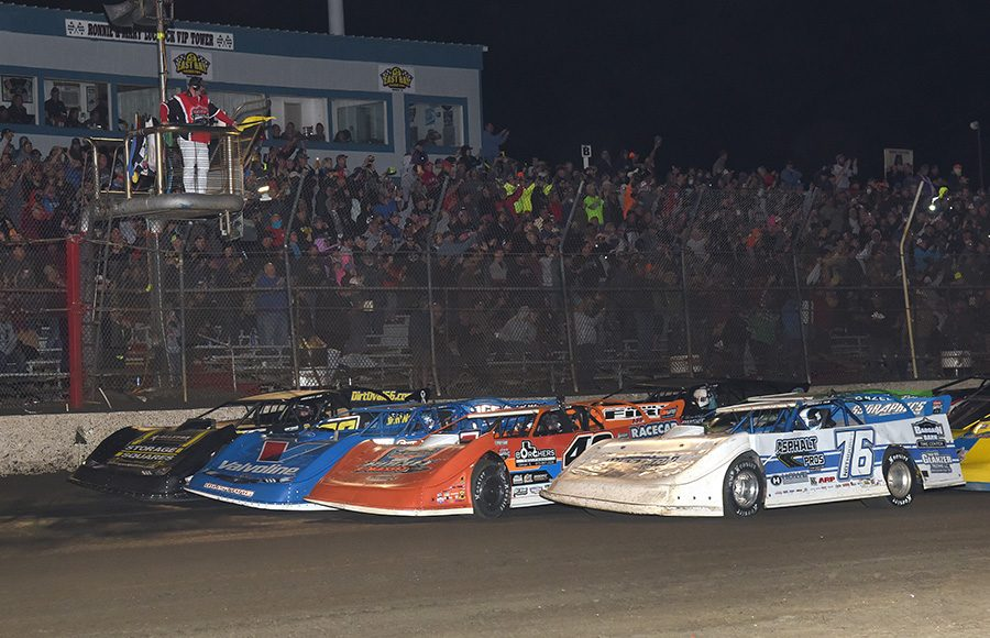 The field for Saturday's Lucas Oil Late Model Dirt Series finale prepares to go racing at East Bay Raceway Park. (Paul Arch Photo)