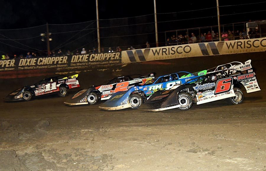 Blake Spencer (6s), Jason Riggs (81), Tony Jackson, Junior (56JR), Stormy Scott (2s) and Spencer Hughes fight for position during Saturday's Lucas Oil Late Model Dirt Series event at East Bay Raceway Park. (Hein Brothers Photo)