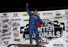 Ricky Thornton Jr. celebrates after his Lucas Oil Late Model Dirt Series triumph on Monday at Bubba Raceway Park. (Jim Denhamer Photo)