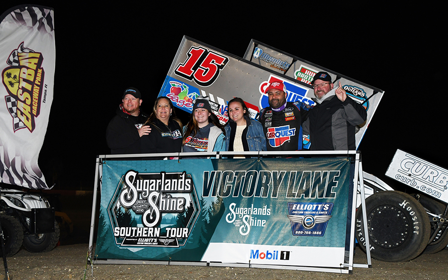 Donny Schatz in victory lane following his Ollie's Bargain Outlet All Star Circuit of Champions victory Tuesday at East Bay Raceway Park. (Frank Smith Photo)