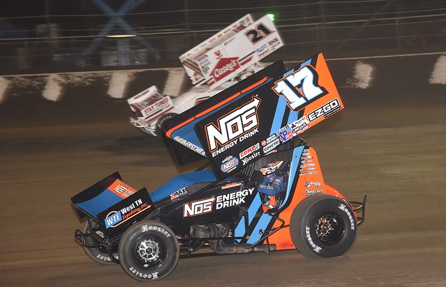 Sheldon Haudenschild (17) battles alongside Brian Brown during Wednesday's Ollie's Bargain Outlet All Star Circuit of Champions event at Volusia Speedway Park. (Paul Arch Photo)