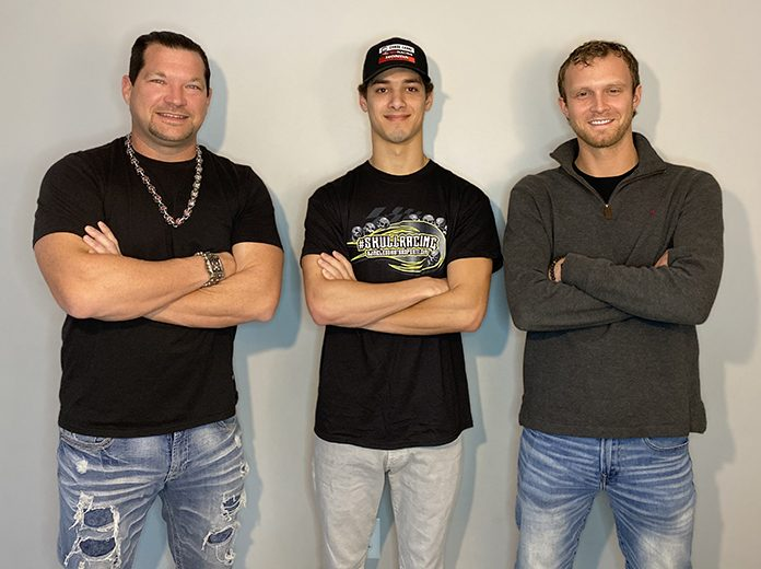 Perry Patino (center) will compete in select super late model events for the new late model program created by B.J. McLeod (left) and Travis Braden (right).