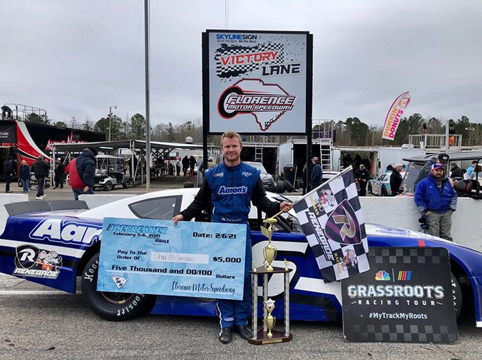 Chad McCumbee in victory lane Saturday at Florence Motor Speedway. (FMS Photo)
