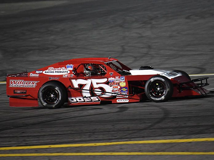 Jeremy Doss on his way to winning the SPEARS Manufacturing Modified Series feature Saturday at Irwindale Speedway. (Steve Himelstein Photo)