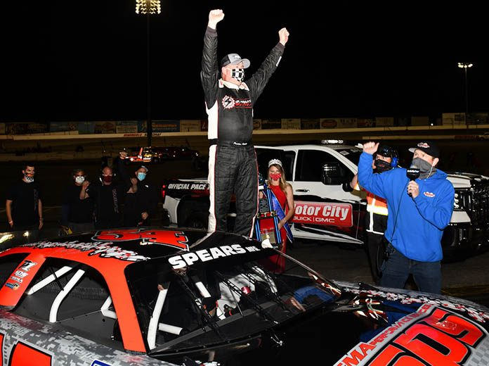 Preston Peltier in victory lane at Irwindale Speedway. (Steve Himelstein photo)