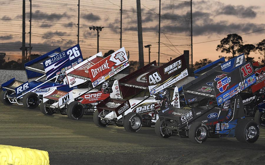 The field for Sunday's World of Outlaws NOS Energy Drink Sprint Car Series event prepares to go racing at Volusia Speedway Park. (Frank Smith Photo)
