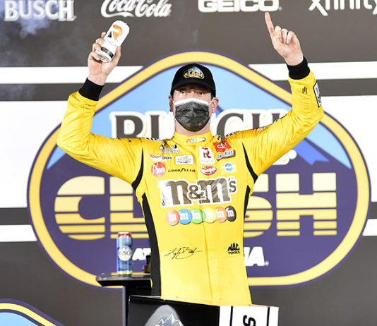 Kyle Busch in victory lane after winning the Busch Clash on Tuesday evening. (Toyota Photo)