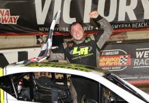 Patrick Emerling celebrates his victory in the Tour-Type Modified feature Tuesday at New Smyrna Speedway. (Jim DuPont Photo)