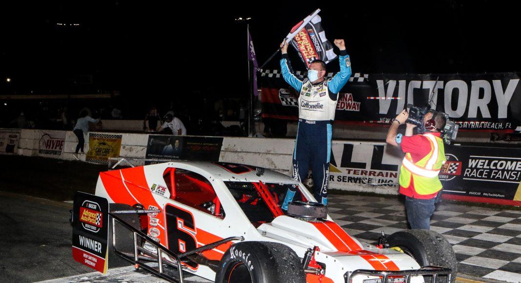 Ryan Preece celebrates after winning the John Blewett III Memorial 76 at New Smyrna Speedway. (Dick Ayers Photo)