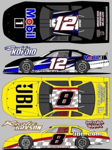 The late models that will be driven by Buddy Kofoid (12) and Kaylee Bryson (8) later this year.