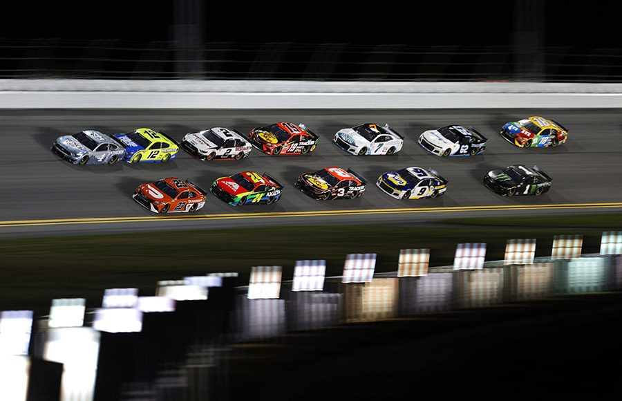 Drivers battle for position during Duel No. 2 on Thursday evening at Daytona Int'l Speedway. (NASCAR/Getty Images Photo)