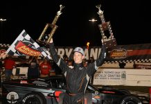 Matt Hirschman won the Richie Evans Memorial 100 for the fifth time on Friday night at New Smyrna Speedway. (Jim DuPont Photo)