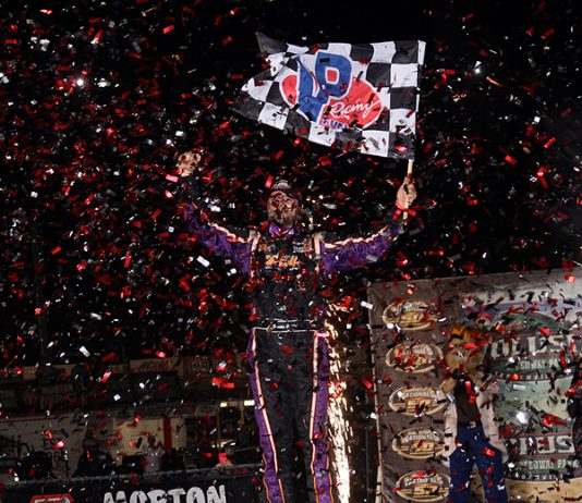 Brandon Overton earned his first DIRTcar Nationals triumph on Friday night. (Jim Denhamer Photo)