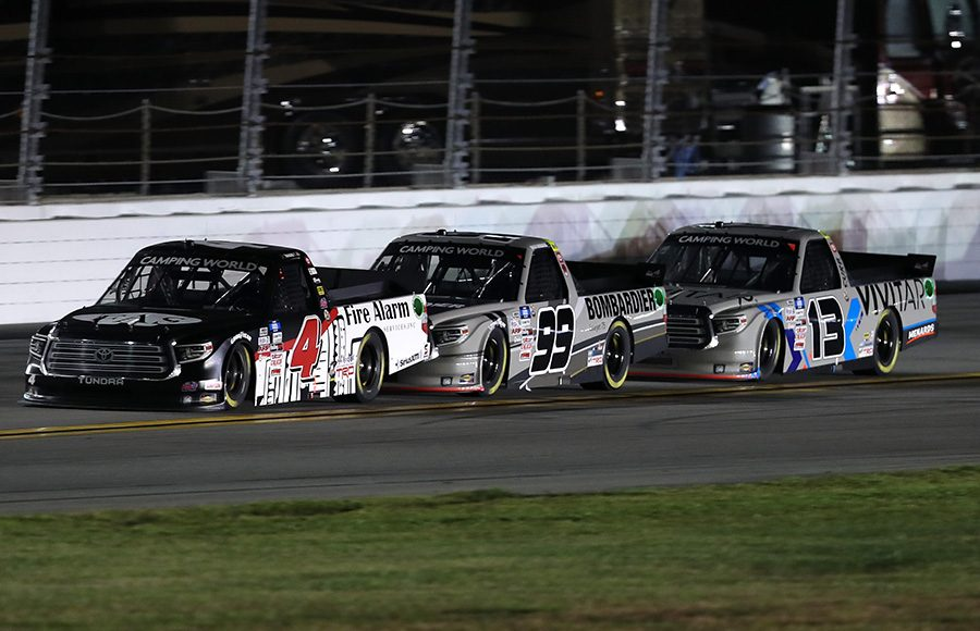 John Hunter Nemechek (4) leads Ben Rhodes (99) and Johnny Sauter (13) during the NextEra Energy Resources 250 Friday at Daytona Int'l Speedway. (NASCAR/Getty Images Photo)