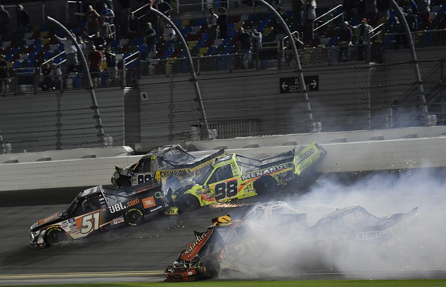 Trucks crash across the finish line on the final lap of the NextEra Energy Resources 250 at Daytona Int'l Speedway. (Toyota Photo)