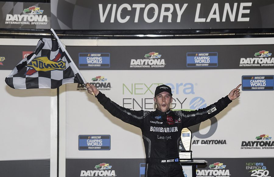 Ben Rhodes celebrates after winning the NextEra Energy Resources 250 at Daytona Int'l Speedway on Friday. (Toyota Photo)