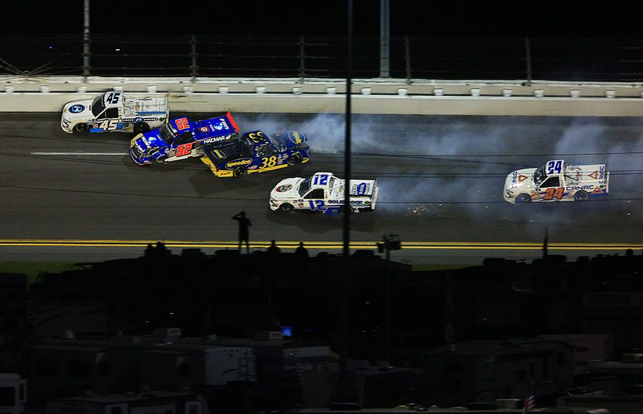 Drivers crash late in Friday's NextEra Energy Resources 250 at Daytona Int'l Speedway. (HHP/Jim Fluharty Photo)