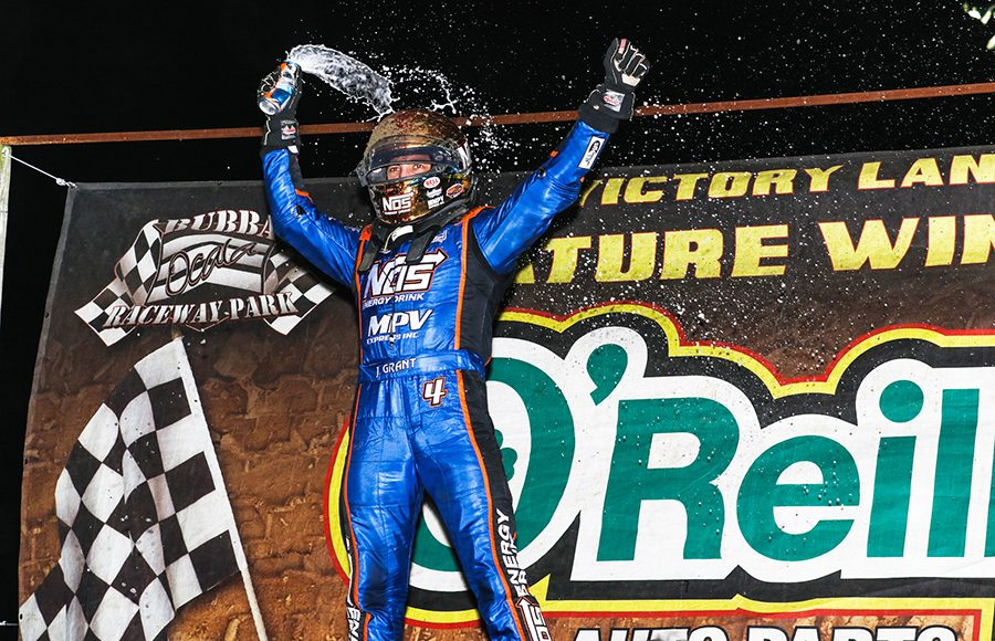 Justin Grant celebrates after winning Friday's USAC AMSOIL National Sprint Car Series feature at Bubba Raceway Park. (Dick Ayers Photo)