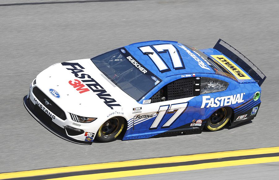 Starting 22nd in his sixth Daytona 500, Chris Buescher in the No. 17 Roush Fenway Racing Ford. (HHP/Harold Hinson Photo)