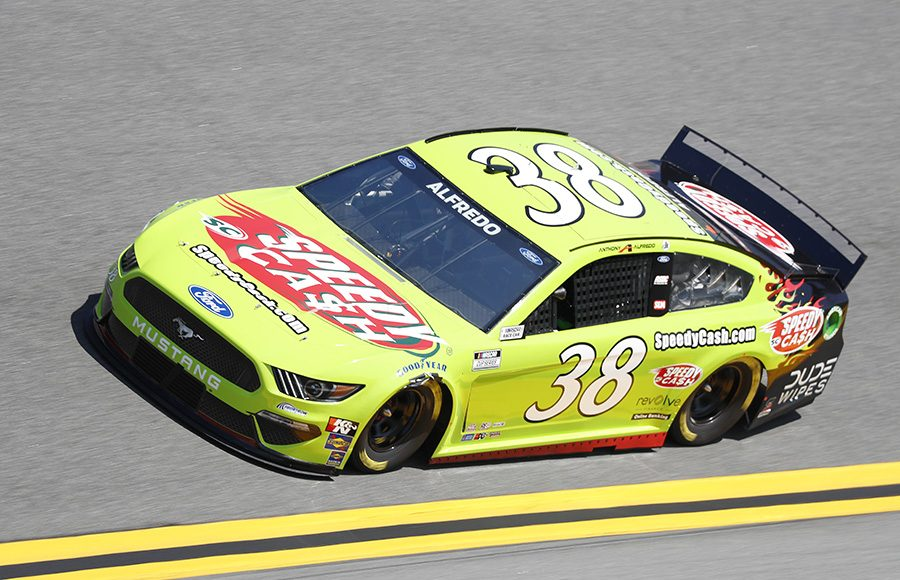 Starting 36th in his first Daytona 500, Anthony Alfredo in the No. 38 Front Row Motorsports Ford. (HHP/Harold Hinson Photo)