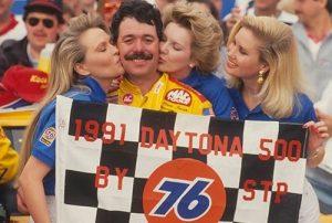 Ernie Irvan in victory lane after winning the 1991 Daytona 500.