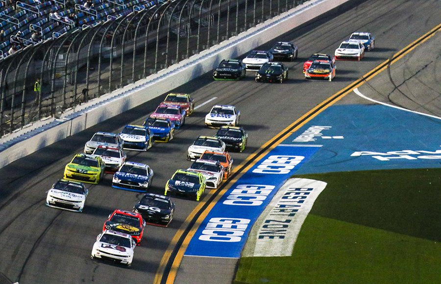 Brett Moffitt (02) leads the pack during Saturday's NASCAR Xfinity Series event at Daytona Int'l Speedway. (Dick Ayers Photo)