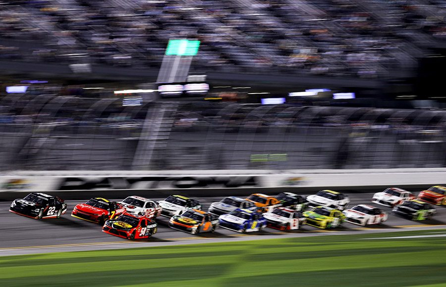 The NASCAR Xfinity Series pack roars through the tri-oval during Saturday's event at Daytona Int'l Speedway. (NASCAR/Getty Images Photo)