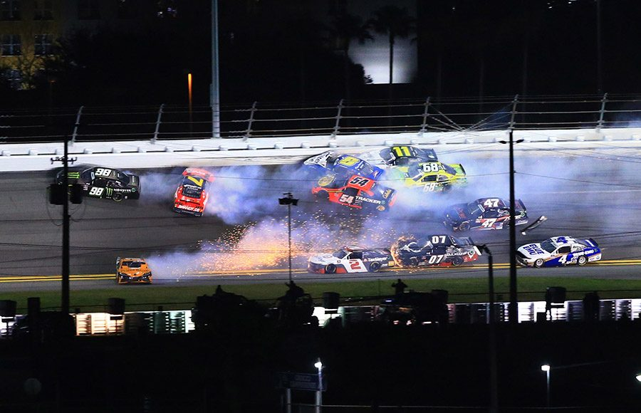 Drivers pile into a crash during Saturday's NASCAR Xfinity Series event at Daytona Int'l Speedway. (HHP/Jim Fluharty Photo)