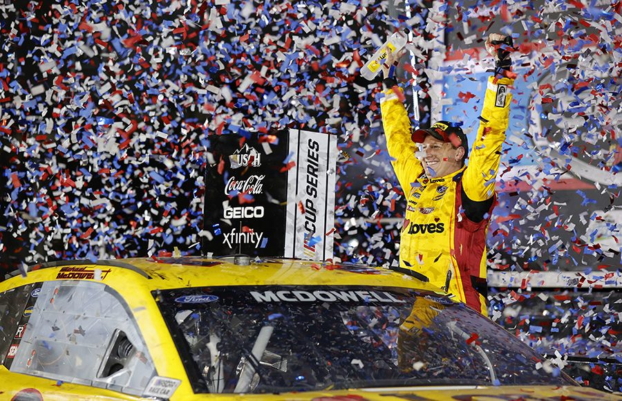 Michael McDowell celebrates after winning the 63rd running of the Daytona 500. (NASCAR/Getty Images Photo)