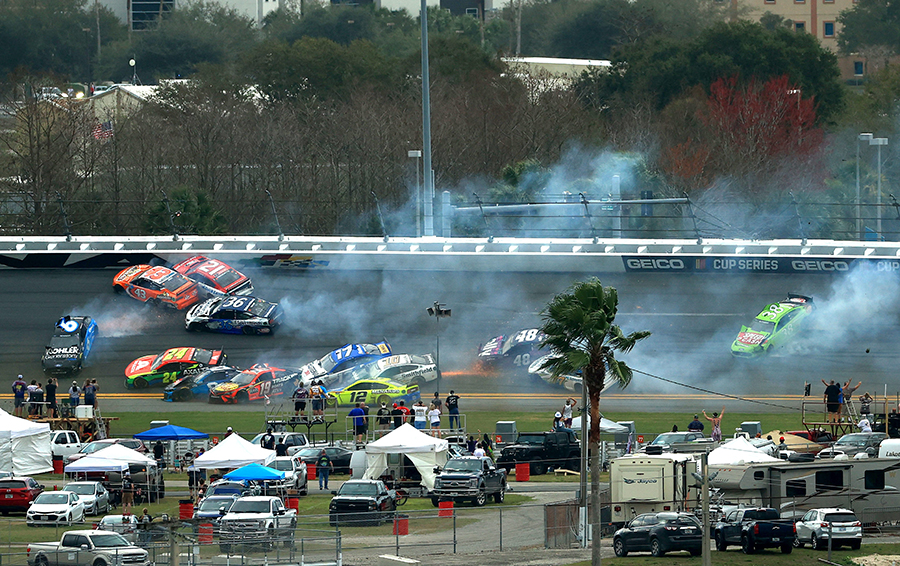 Drivers pile into a crash on the 15th lap of the 63rd Daytona 500. (NASCAR/Getty Images Photo)
